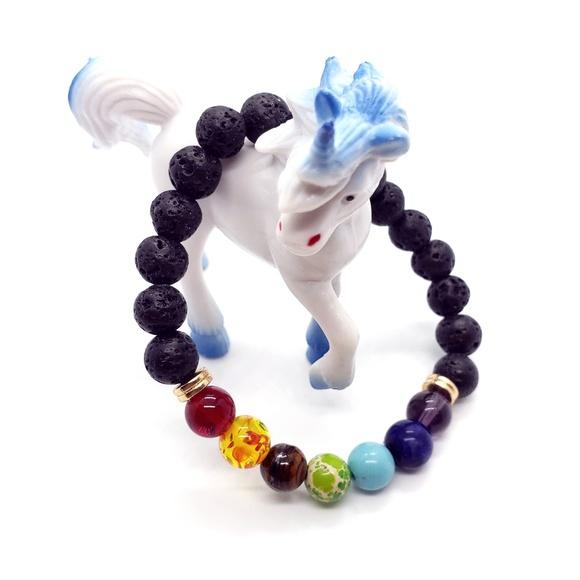 Jewelry - Lava Stone Oil Diffuser 7 Chakra Healing Bracelet